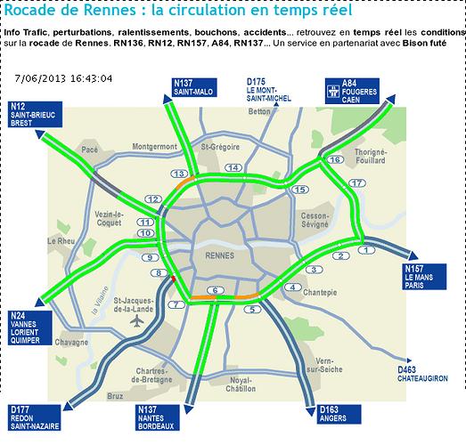 Rennes : La circulation en temps réel sur la Rocade de Rennes 0
