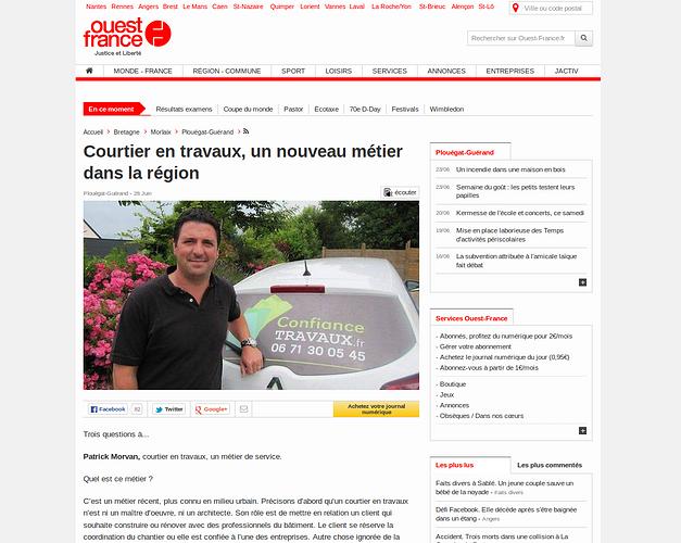 Confiance Travaux dans le Ouest France du 28.06.2014 0