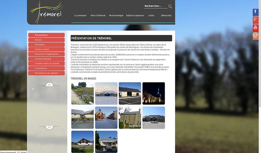 Site web pour la ville de Trémorel tremorel2